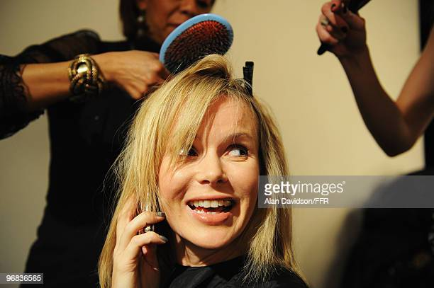 Actress Amanda Holden backstage during Naomi Campbell's Fashion For Relief Haiti London 2010 Fashion Show at Somerset House on February 18 2010 in...