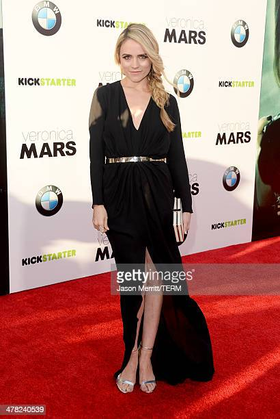 Actress Amanda Noret arrives at the Los Angeles premiere of 'Veronica Mars' at TCL Chinese Theatre on March 12 2014 in Hollywood California