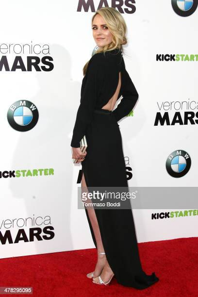 Actress Amanda Noret attends the 'Veronica Mars' Los Angeles premiere held at the TCL Chinese Theatre on March 12 2014 in Hollywood California