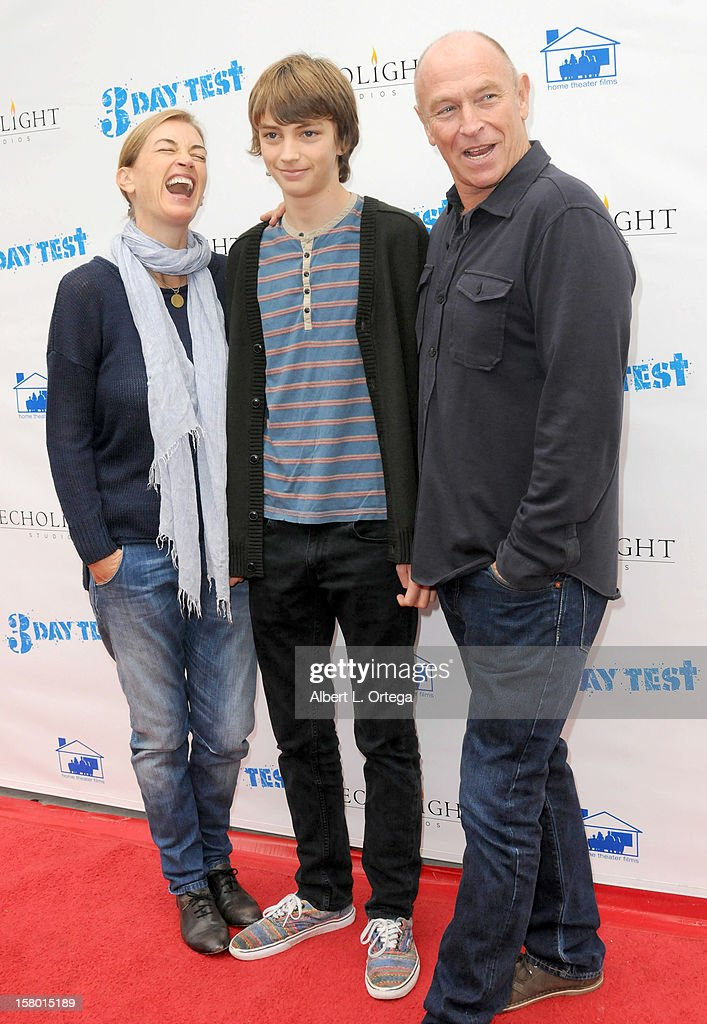 Actress Amanda Pays, son Finley Bernsen and actor/director Corbin Bernsen arrive for the Screening Of '3 Day Test' - Arrivals held at Downtown Independent Theater on December 8, 2012 in Los Angeles, California.