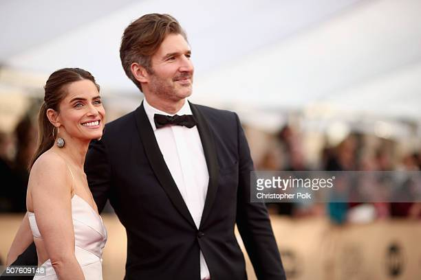 Actress Amanda Peet and David Benioff attend The 22nd Annual Screen Actors Guild Awards at The Shrine Auditorium on January 30 2016 in Los Angeles...