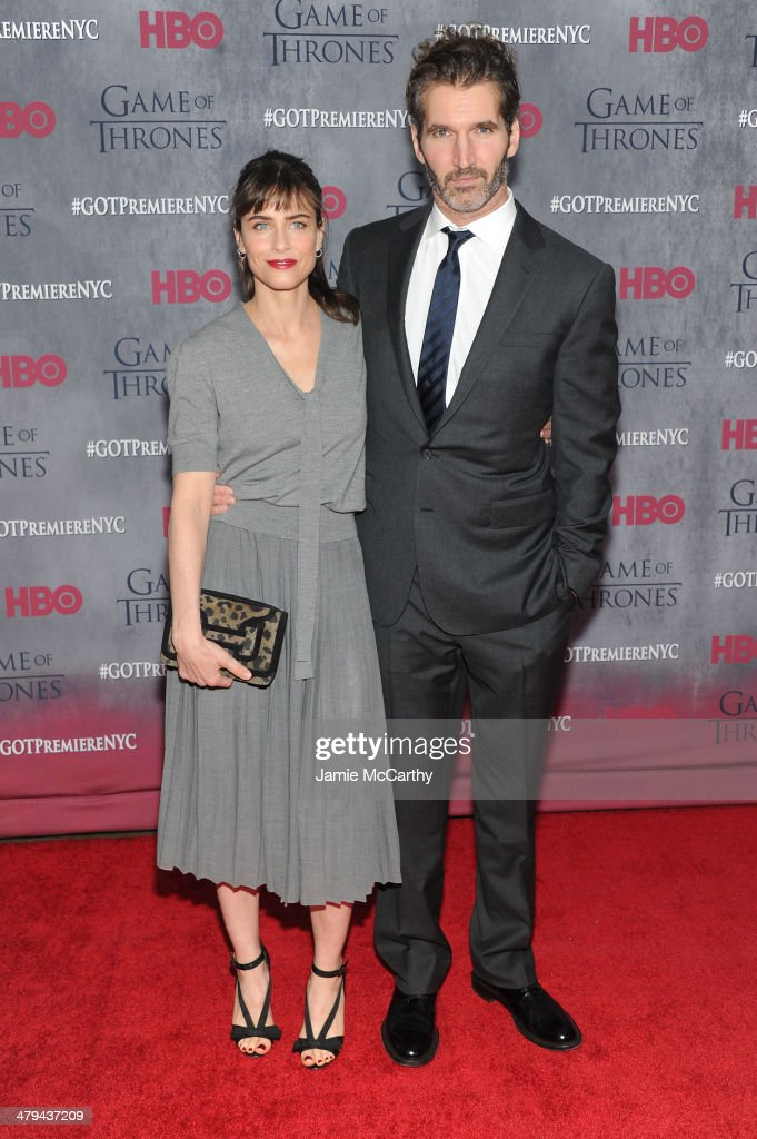 Actress <a gi-track='captionPersonalityLinkClicked' href=/galleries/search?phrase=Amanda+Peet&family=editorial&specificpeople=201910 ng-click='$event.stopPropagation()'>Amanda Peet</a> and executive producer <a gi-track='captionPersonalityLinkClicked' href=/galleries/search?phrase=David+Benioff&family=editorial&specificpeople=2097877 ng-click='$event.stopPropagation()'>David Benioff</a> attend the 'Game Of Thrones' Season 4 New York premiere at Avery Fisher Hall, Lincoln Center on March 18, 2014 in New York City.