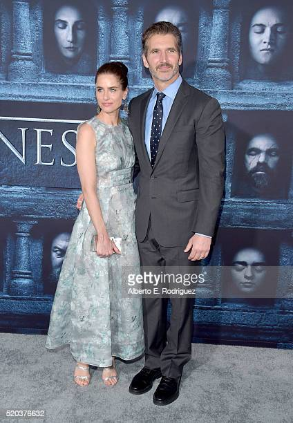 Actress Amanda Peet and writer David Benioff attend the premiere of HBO's 'Game Of Thrones' Season 6 at TCL Chinese Theatre on April 10 2016 in...