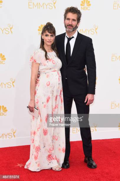Actress Amanda Peet and writer/director David Benioff attend the 66th Annual Primetime Emmy Awards held at Nokia Theatre LA Live on August 25 2014 in...