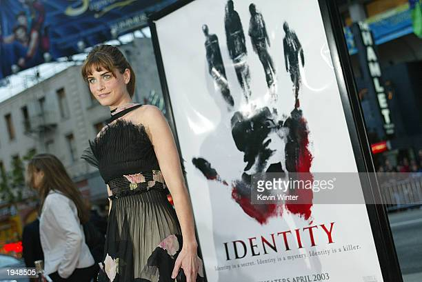 Actress Amanda Peet arrives at the premiere of 'Identity' at the Chinese Theater on April 23 2003 in Los Angeles California