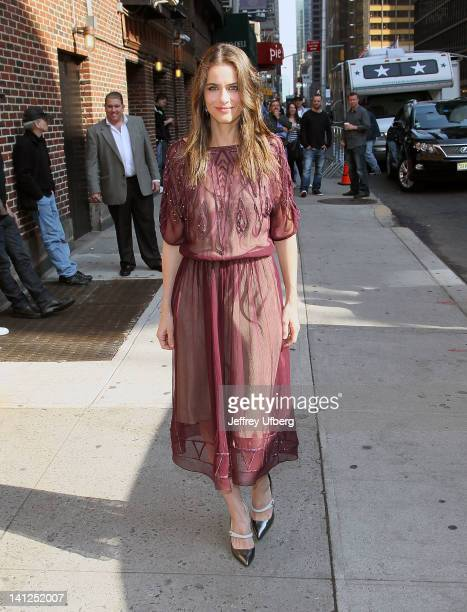 Actress Amanda Peet arrives to 'Late Show with David Letterman' at Ed Sullivan Theater on March 13 2012 in New York City