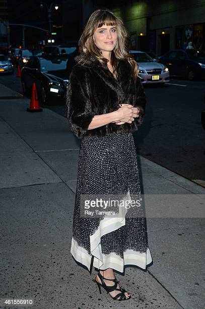 Actress Amanda Peet enters the 'Late Show With David Letterman' taping at the Ed Sullivan Theater on January 14 2015 in New York City