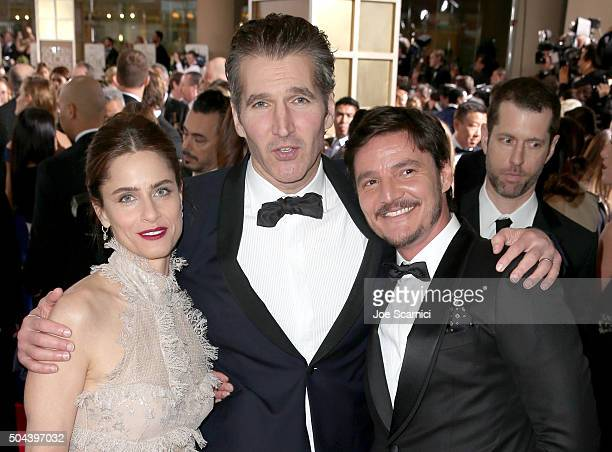 Actress Amanda Peet novelist David Benioff and actor Pedro Pascal attend the 73rd Annual Golden Globe Awards held at the Beverly Hilton Hotel on...