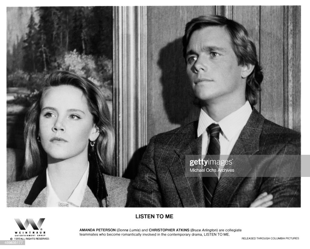 Actress Amanda Peterson and actor Christopher Atkins on the set of the Columbia Pictures movie 'Listen to Me' circa 1989