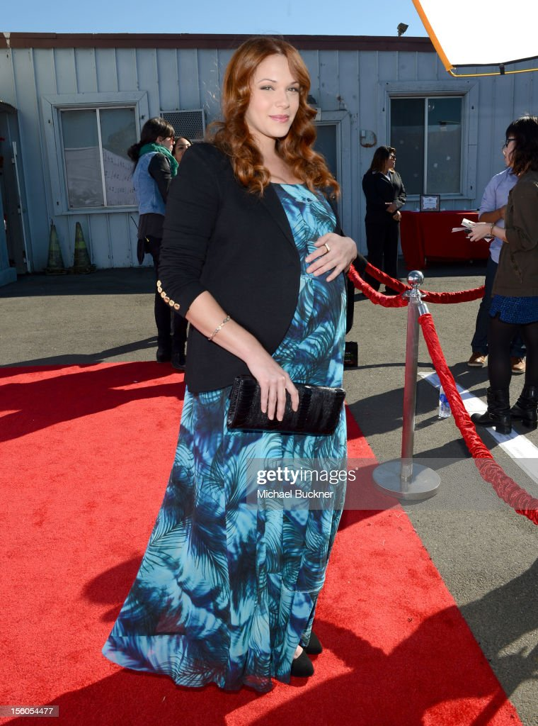 Actress Amanda Righetti attends the creative arts fair and family day 'Express Yourself', supporting P.S. ARTS, at Barker Hangar on November 11, 2012 in Santa Monica, California.