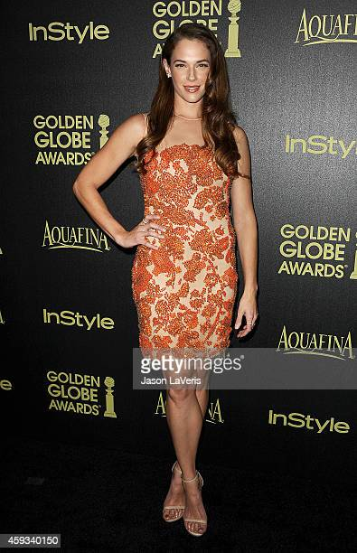Actress Amanda Righetti attends the Hollywood Foreign Press Association and InStyle's celebration of the 2015 Golden Globe award season at Fig Olive...