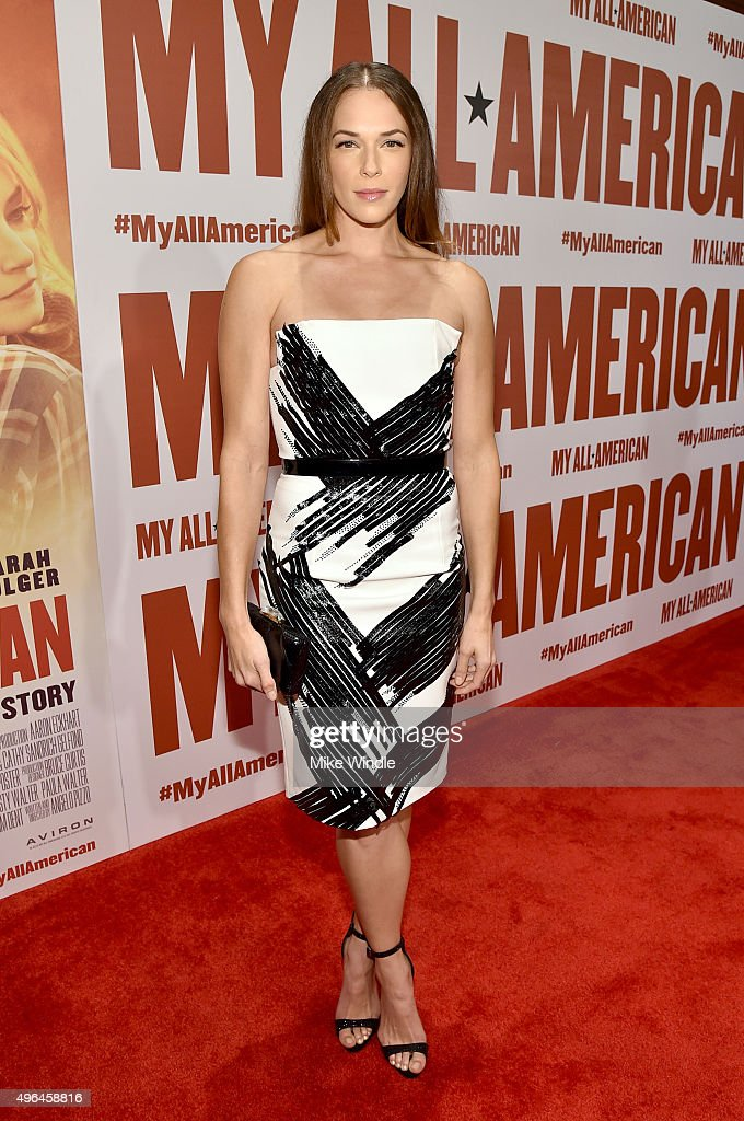 Actress Amanda Righetti attends the premiere of Clarius Entertainment's 'My All American' at The Grove on November 9, 2015 in Los Angeles, California.