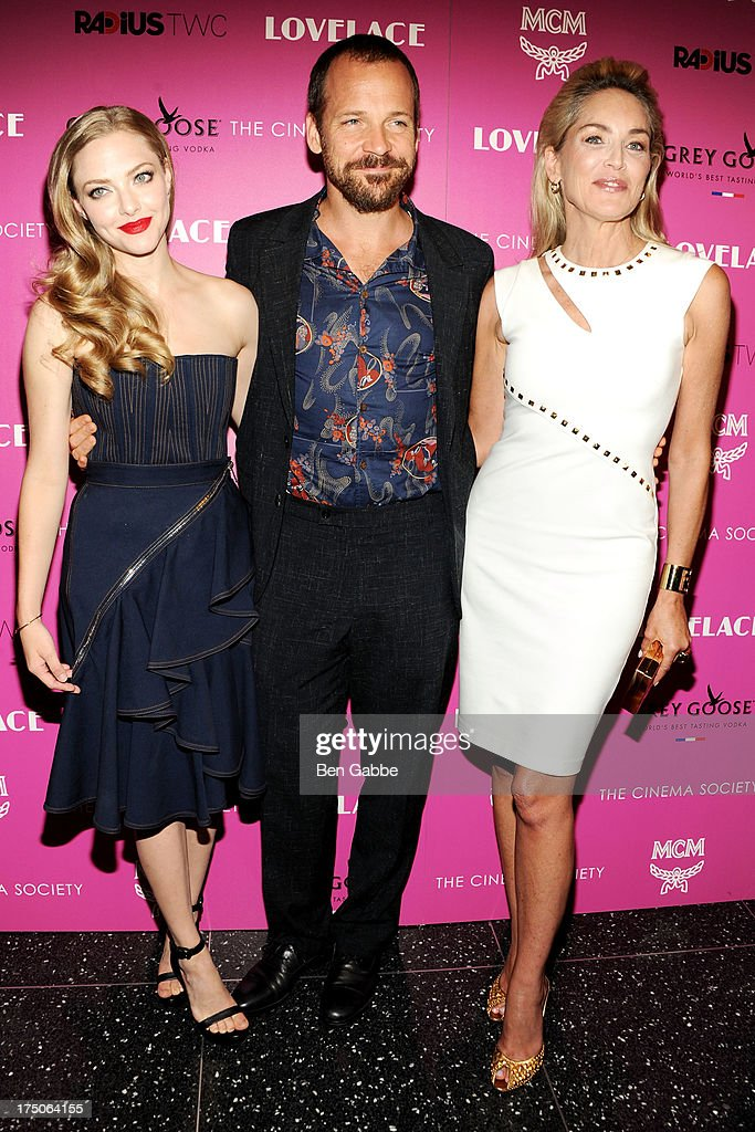 Actress Amanda Seyfried, actor Peter Sarsgaard and actress Sharon Stone attend The Cinema Society and MCM with Grey Goose host a screening of Radius TWC's 'Lovelace' at The Museum of Modern Art on July 30, 2013 in New York City.