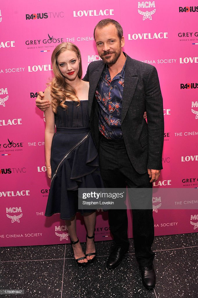 Actress <a gi-track='captionPersonalityLinkClicked' href=/galleries/search?phrase=Amanda+Seyfried&family=editorial&specificpeople=216619 ng-click='$event.stopPropagation()'>Amanda Seyfried</a> (L) and actor <a gi-track='captionPersonalityLinkClicked' href=/galleries/search?phrase=Peter+Sarsgaard&family=editorial&specificpeople=210547 ng-click='$event.stopPropagation()'>Peter Sarsgaard</a> attend The Cinema Society and MCM with Grey Goose screening of Radius TWC's 'Lovelace' at MoMA on July 30, 2013 in New York City.