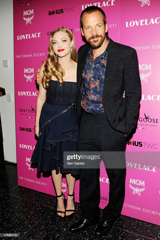 Actress <a gi-track='captionPersonalityLinkClicked' href=/galleries/search?phrase=Amanda+Seyfried&family=editorial&specificpeople=216619 ng-click='$event.stopPropagation()'>Amanda Seyfried</a> (L) and actor <a gi-track='captionPersonalityLinkClicked' href=/galleries/search?phrase=Peter+Sarsgaard&family=editorial&specificpeople=210547 ng-click='$event.stopPropagation()'>Peter Sarsgaard</a> attend The Cinema Society and MCM with Grey Goose host a screening of Radius TWC's 'Lovelace' at The Museum of Modern Art on July 30, 2013 in New York City.
