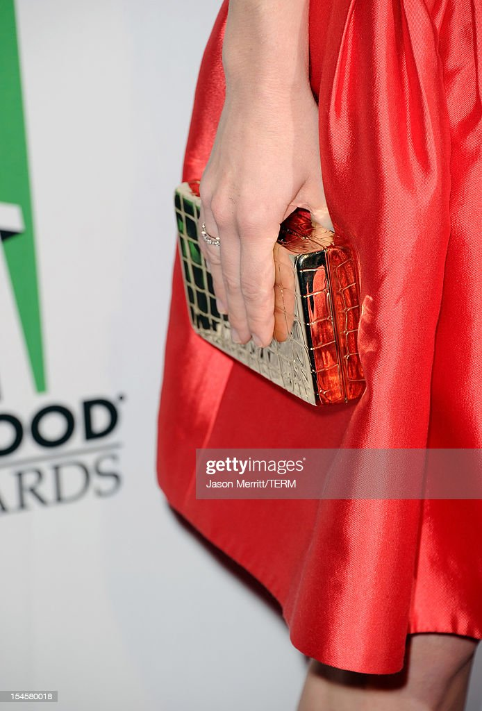 Actress Amanda Seyfried (fashion detail) arrives at the 16th Annual Hollywood Film Awards Gala presented by The Los Angeles Times held at The Beverly Hilton Hotel on October 22, 2012 in Beverly Hills, California.