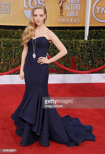 Actress Amanda Seyfried arrives at the 19th Annual Screen Actors Guild Awards at The Shrine Auditorium on January 27 2013 in Los Angeles California