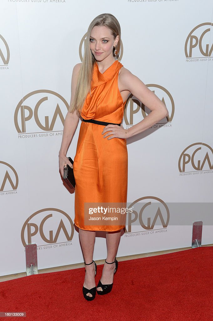Actress Amanda Seyfried arrives at the 24th Annual Producers Guild Awards held at The Beverly Hilton Hotel on January 26, 2013 in Beverly Hills, California.