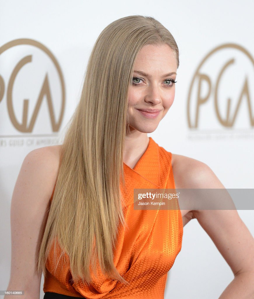 Actress <a gi-track='captionPersonalityLinkClicked' href=/galleries/search?phrase=Amanda+Seyfried&family=editorial&specificpeople=216619 ng-click='$event.stopPropagation()'>Amanda Seyfried</a> arrives at the 24th Annual Producers Guild Awards held at The Beverly Hilton Hotel on January 26, 2013 in Beverly Hills, California.