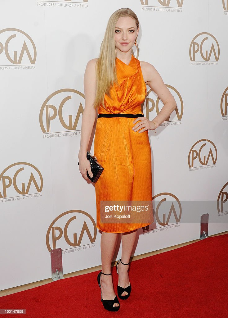 Actress Amanda Seyfried arrives at the 24th Annual Producers Guild Awards at The Beverly Hilton Hotel on January 26, 2013 in Beverly Hills, California.