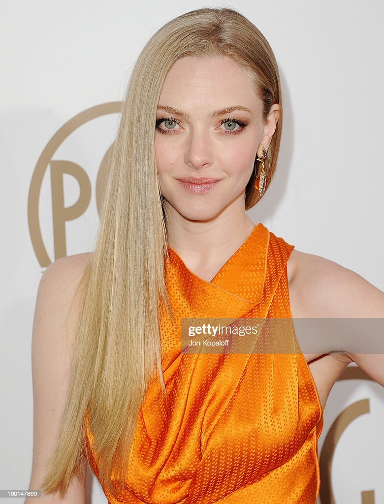 Actress <a gi-track='captionPersonalityLinkClicked' href=/galleries/search?phrase=Amanda+Seyfried&family=editorial&specificpeople=216619 ng-click='$event.stopPropagation()'>Amanda Seyfried</a> arrives at the 24th Annual Producers Guild Awards at The Beverly Hilton Hotel on January 26, 2013 in Beverly Hills, California.