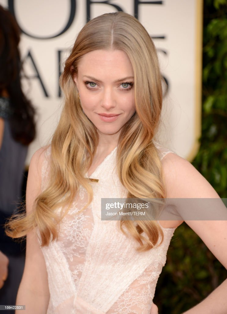 Actress <a gi-track='captionPersonalityLinkClicked' href=/galleries/search?phrase=Amanda+Seyfried&family=editorial&specificpeople=216619 ng-click='$event.stopPropagation()'>Amanda Seyfried</a> arrives at the 70th Annual Golden Globe Awards held at The Beverly Hilton Hotel on January 13, 2013 in Beverly Hills, California.