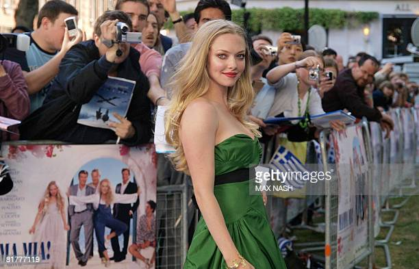 US actress Amanda Seyfried arrives for the World Premiere of her latest film Mamma Mia in London's Leicester Square on June 30 2008 AFP Photo/Max Nash