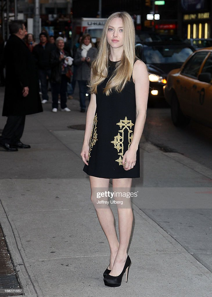 Actress Amanda Seyfried arrives to 'Late Show with David Letterman' at Ed Sullivan Theater on December 11, 2012 in New York City.