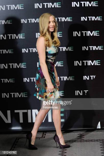 Actress Amanda Seyfried attends a photocall for 'In Time' at the Villamagna Hotel on November 3 2011 in Madrid Spain