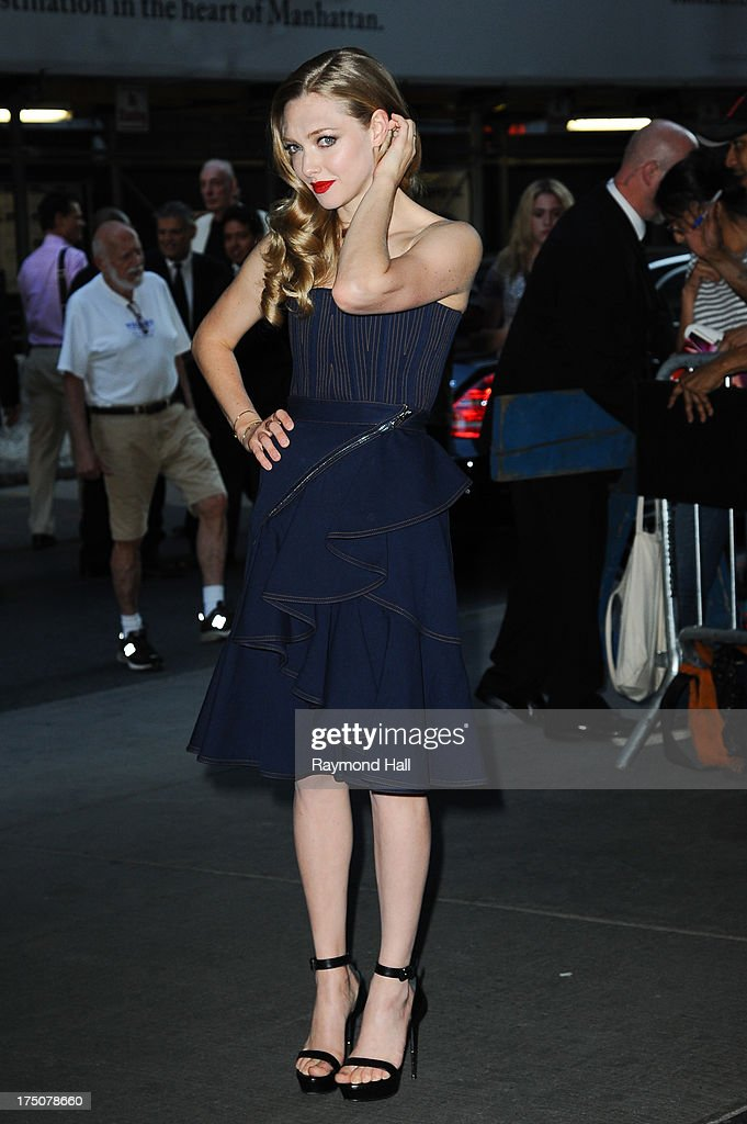 Actress <a gi-track='captionPersonalityLinkClicked' href=/galleries/search?phrase=Amanda+Seyfried&family=editorial&specificpeople=216619 ng-click='$event.stopPropagation()'>Amanda Seyfried</a> attends a screening of Radius TWC's 'Lovelace' hosted by The Cinema Society and MCM with Grey Goose at The Museum of Modern Art on July 30, 2013 in New York City.