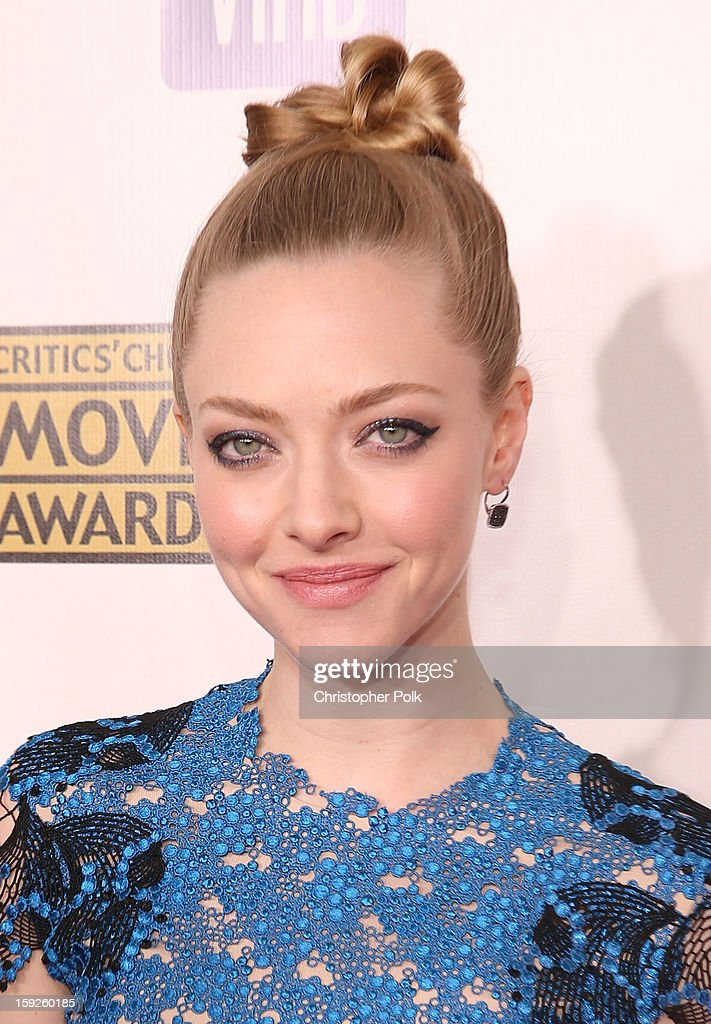 Actress Amanda Seyfried attends the 18th Annual Critics' Choice Movie Awards held at Barker Hangar on January 10, 2013 in Santa Monica, California.