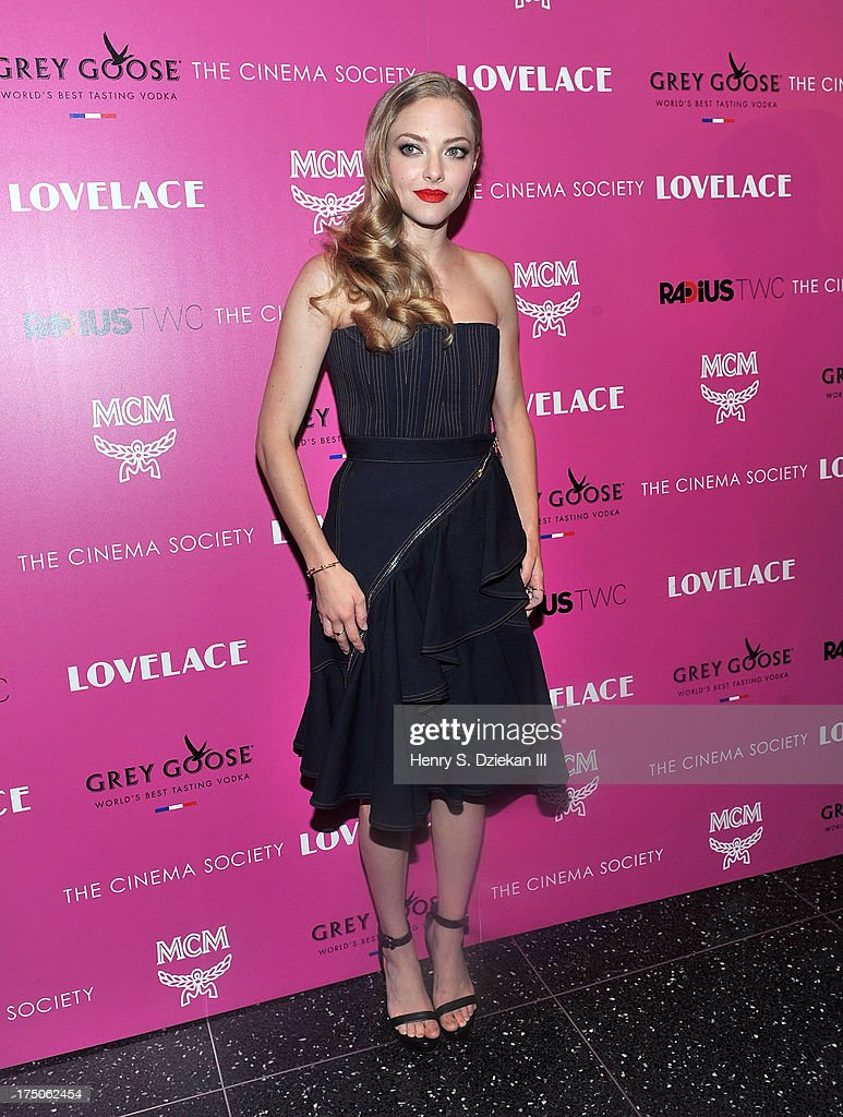 Actress <a gi-track='captionPersonalityLinkClicked' href=/galleries/search?phrase=Amanda+Seyfried&family=editorial&specificpeople=216619 ng-click='$event.stopPropagation()'>Amanda Seyfried</a> attends The Cinema Society and MCM with Grey Goose screening of Radius TWC's 'Lovelace' at Museum of Modern Art on July 30, 2013 in New York City.