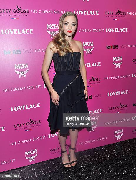 Actress Amanda Seyfried attends The Cinema Society and MCM with Grey Goose screening of Radius TWC's 'Lovelace' at Museum of Modern Art on July 30...
