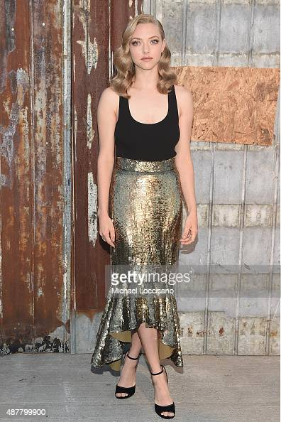 Actress Amanda Seyfried attends the Givenchy fashion show during Spring 2016 New York Fashion Week at Pier 26 at Hudson River Park on September 11...