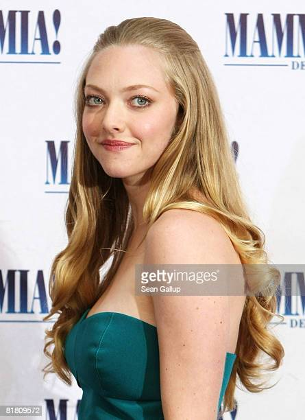Actress Amanda Seyfried attends the photocall for 'Mamma Mia The Movie' at the Adlon Hotel on July 3 2008 in Berlin Germany