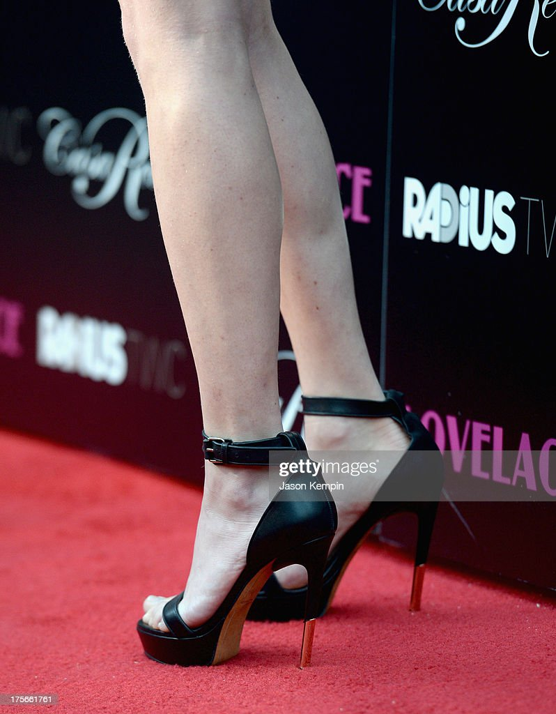 Actress Amanda Seyfried (shoe detail) attends the premiere Of RADiUS-TWC's 'Lovelace' at the Egyptian Theatre on August 5, 2013 in Hollywood, California.