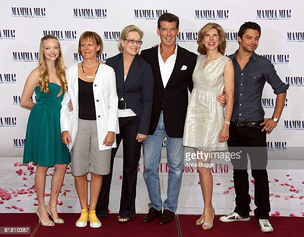 Actress Amanda Seyfried director Phyllidia Lloyd actress Meryl Streep actor Pierce Brosnan actress Christine Branski and actor Dominic Cooper attend...