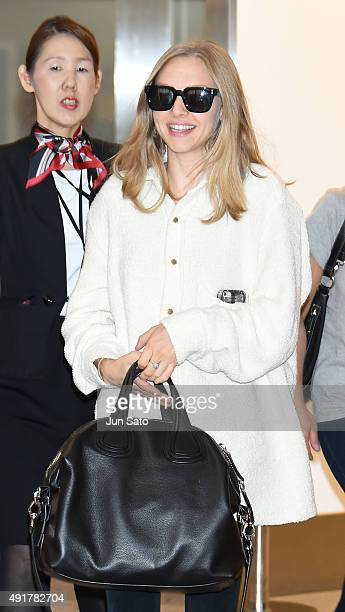Actress Amanda Seyfried is seen upon arrival at Narita International Airport on October 8 2015 in Narita Japan