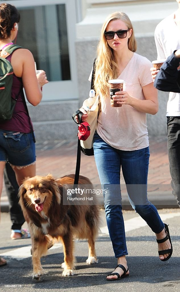 Actress Amanda Seyfried is sighted Walking her Dog in Soho on September 12, 2013 in New York City.