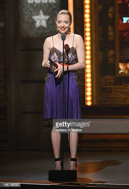 Actress Amanda Seyfried onstage at the 66th Annual Tony Awards at The Beacon Theatre on June 10 2012 in New York City