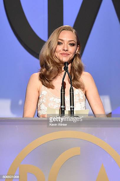 Actress Amanda Seyfried speaks onstage at the 27th Annual Producers Guild Of America Awards at the Hyatt Regency Century Plaza on January 23 2016 in...