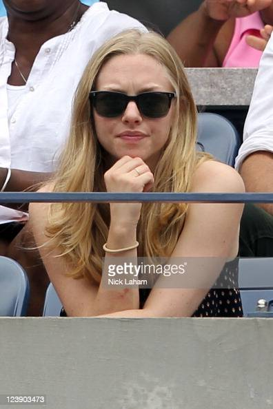 Actress Amanda Seyfried watches Anastasia Pavlyuchenkova of Russia play against Francesca Schiavone of Italy during Day Eight of the 2011 US Open at...