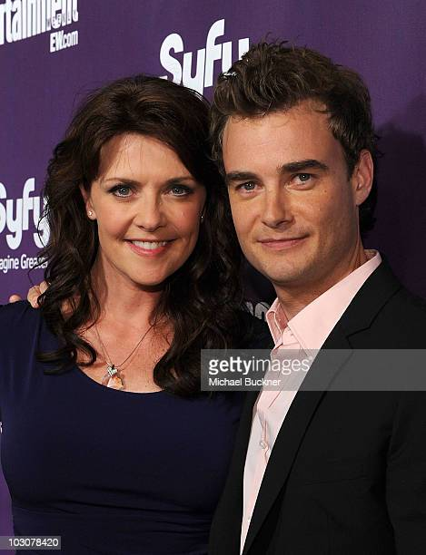 Actress Amanda Tapping and Robin Dunne attend the EW and SyFy party during ComicCon 2010 at Hotel Solamar on July 24 2010 in San Diego California
