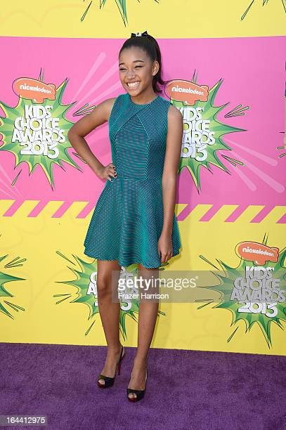 Actress Amandla Stenberg arrives at Nickelodeon's 26th Annual Kids' Choice Awards at USC Galen Center on March 23 2013 in Los Angeles California
