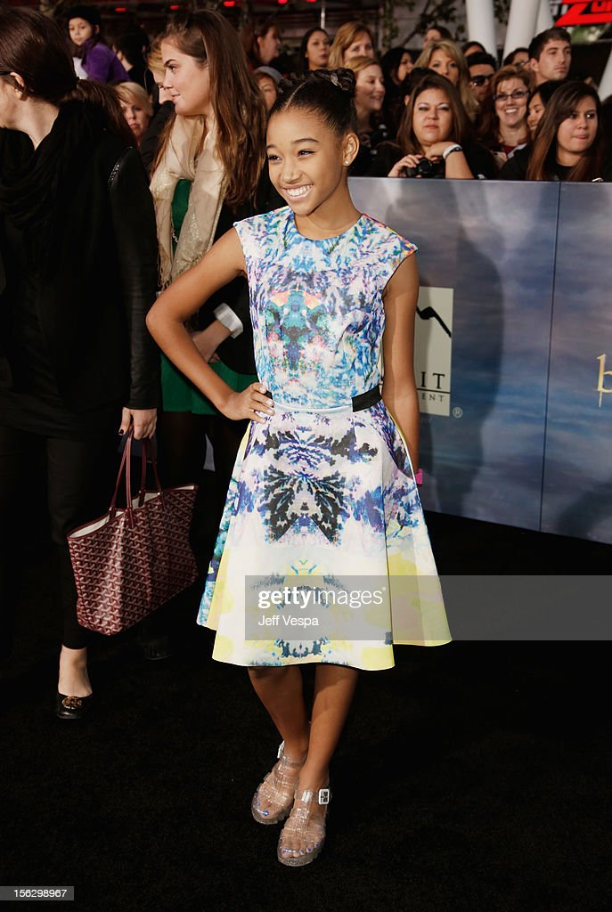 Actress Amandla Stenberg arrives at 'The Twilight Saga: Breaking Dawn - Part 2' Los Angeles premiere at Nokia Theatre L.A. Live on November 12, 2012 in Los Angeles, California.