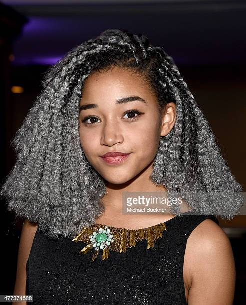 Actress Amandla Stenberg attends the Women In Film 2015 Crystal Lucy Awards Presented by Max Mara BMW of North America and Tiffany Co at the Hyatt...