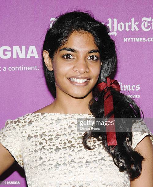 Actress Amara Karan attends a press conference for 'Darjeeling Limited' during the 45th New York Film Festival at Walter Reade Theater September 27...