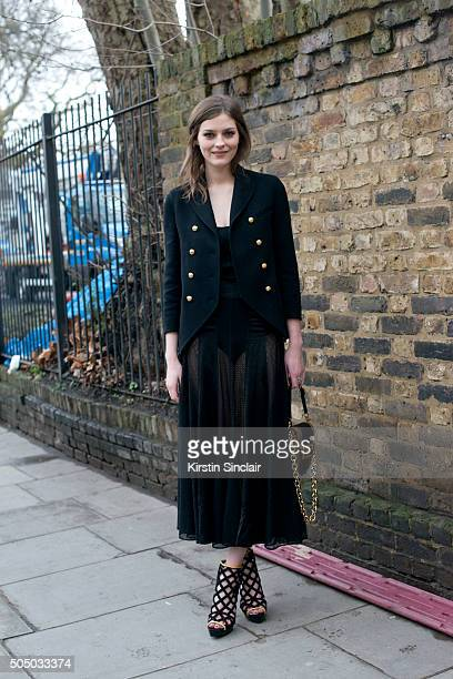 Actress Amber Anderson wears all Burberry on day 4 of London Collections Men on Januay 11 2016 in London England Amber Anderson