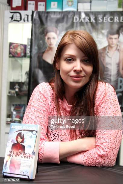 Actress Amber Benson signs copies of her new book 'The Golden Age Of Death' at Dark Delicacies Bookstore on March 2 2013 in Burbank California