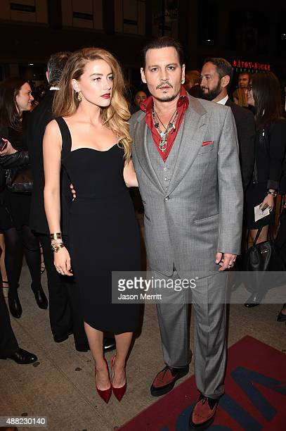 Actress Amber Heard and actor Johnny Depp attends the 'Black Mass' premiere during the 2015 Toronto International Film Festival at The Elgin on...